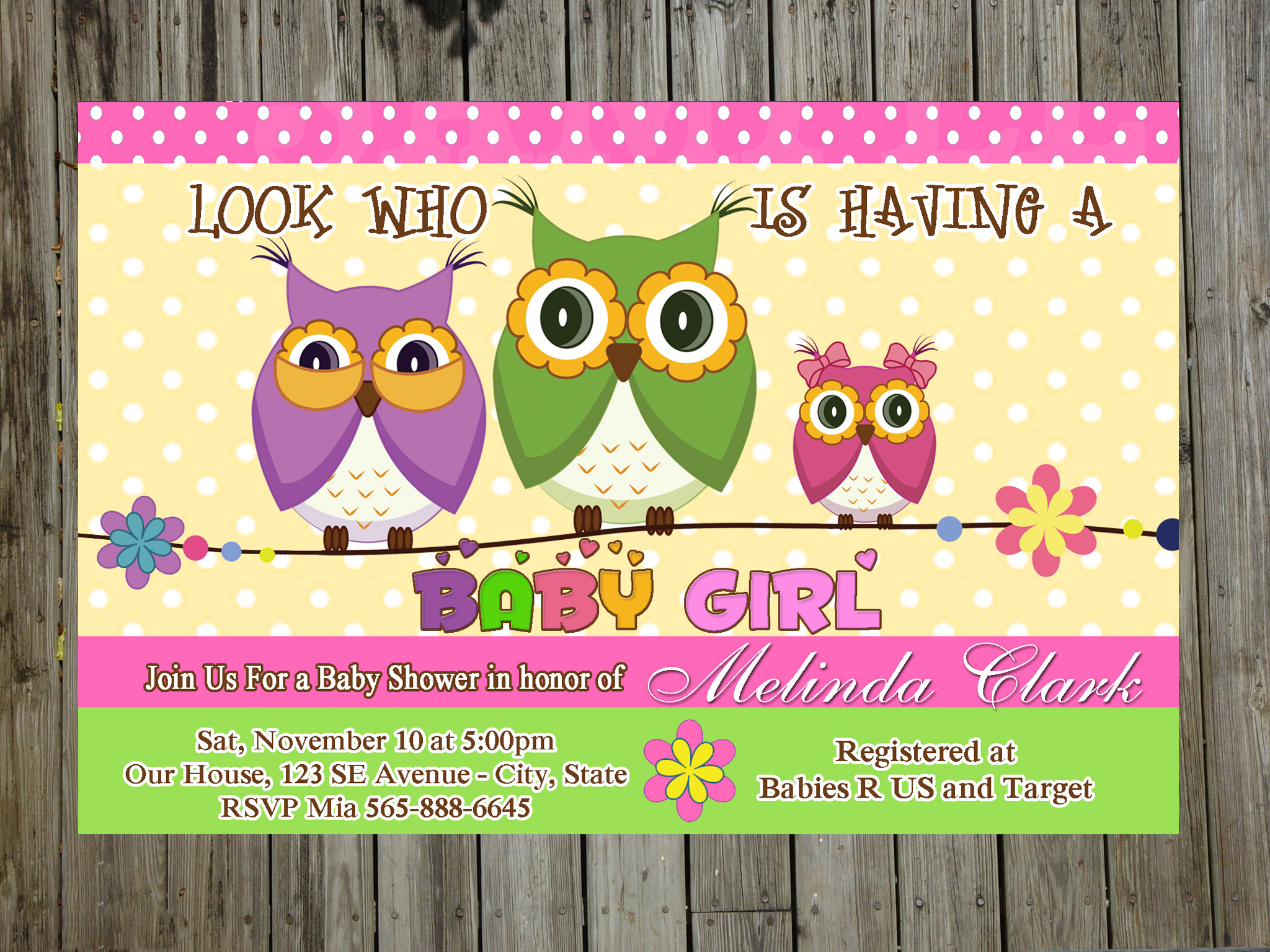 Sweet Owl Baby Shower Party Invitations For Boy Or Girl (unlimited ...